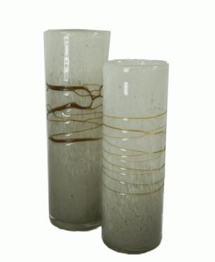 Gold and White Cylinder Vases main image