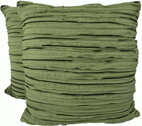 Green and Brown Ruched Pillows main image