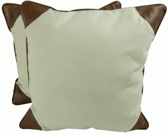 Beige Pillows with Leather Accent main image