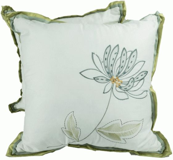 Green Blue and White Flower Pillows main image
