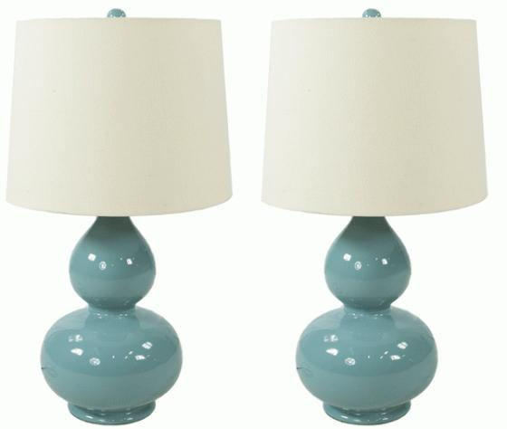 Round Blue Ceramic Lamp Set main image
