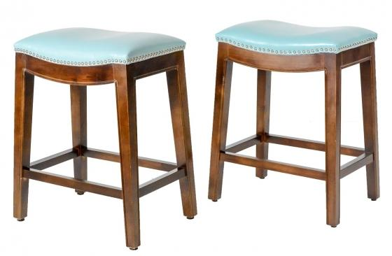 Elmo Light Blue Bonded Leather Counter Stools main image