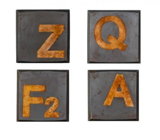 """Rustic """"Z,Q,F2,A"""" Wall Art Set main image"""