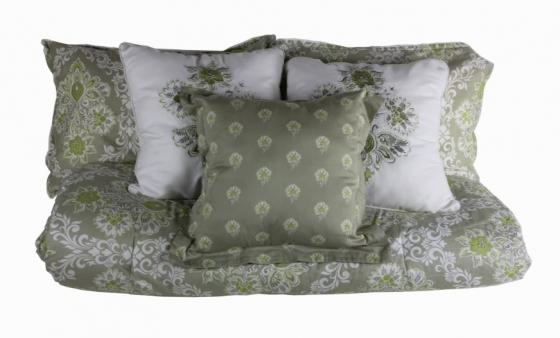 Green/Taupe Queen Bedding Set main image