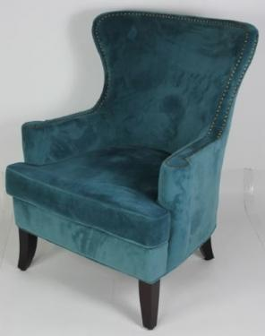 Blue Velvet Chair with Nailheads main image