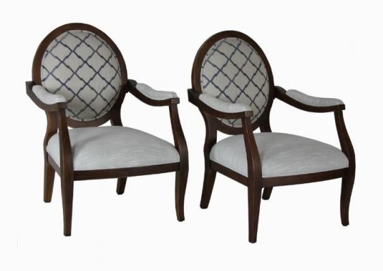 Two Chain Link Pattern Queen Ann Chair Set main image
