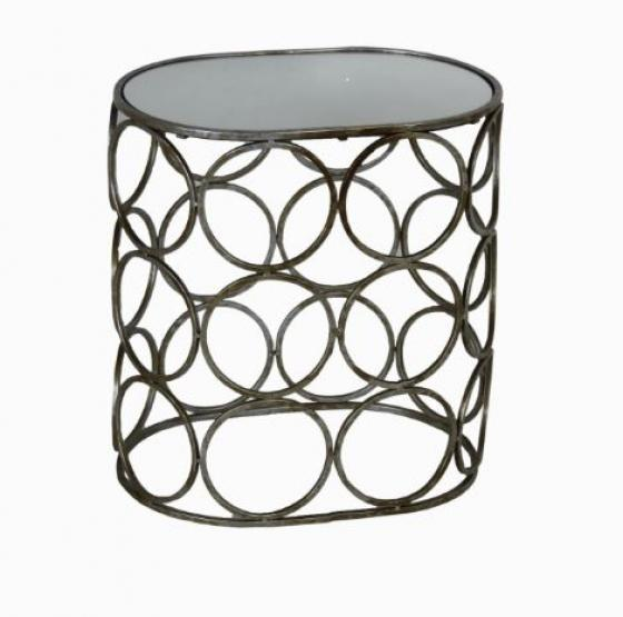 Mirror Top And Metal Frame Cylinder Side Table main image