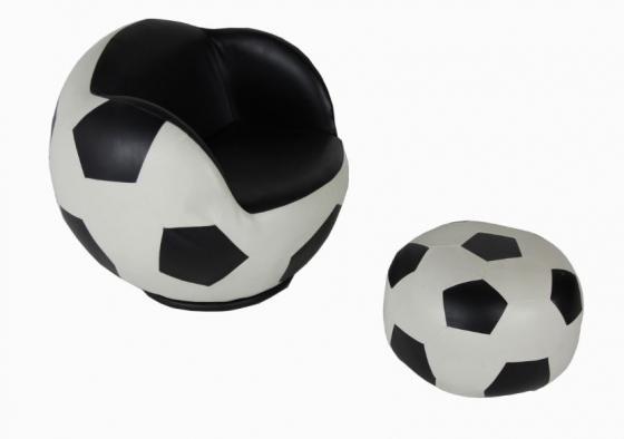 Black/White Kids Soccer Shape Chair W/Ottoman Set main image