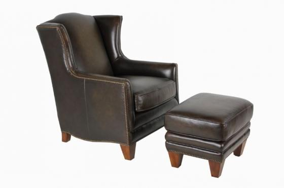 Solid Brown Nail Head Chair/Ottoman Set main image