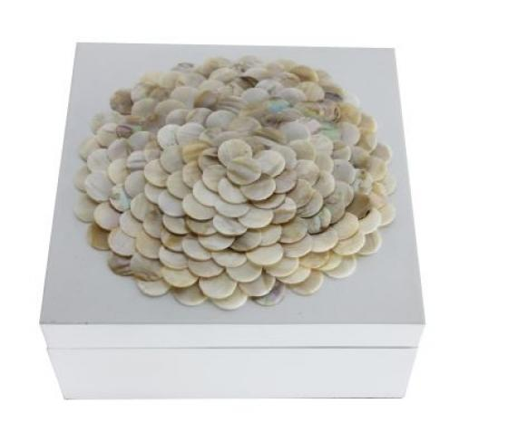 White Floral Accent Box main image