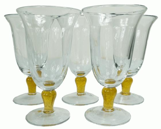 Wine Glasses with Yellow Embellishment main image