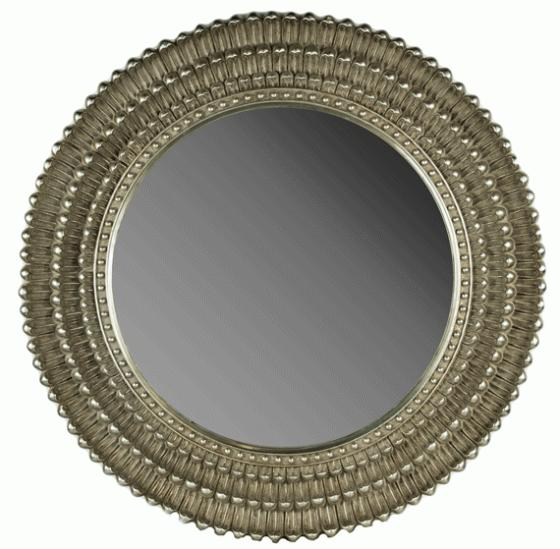 Round Antiqued Silver Mirror  main image