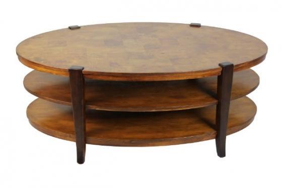 Oval Three Shelf Wood Pattern Coffee Table main image