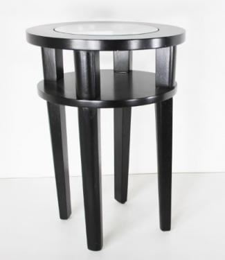 Small Round Black Side Table W/Glass Top main image
