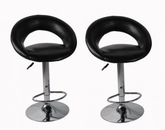 Black Leather Stools W/Silver Legs main image