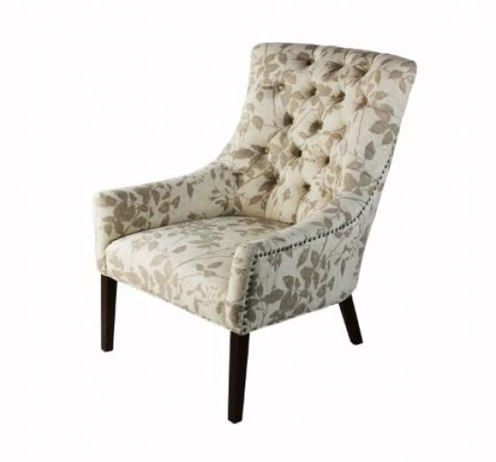 Beige/Grey Floral Accent Chair main image