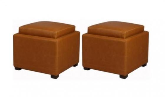 Caramel Cameron Square Bonded Leather Ottoman Set main image