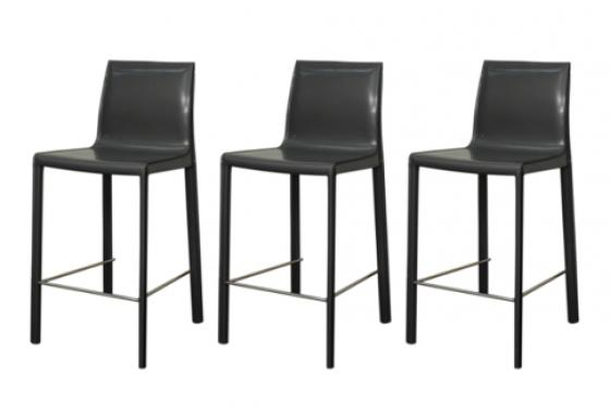 Anthracite Gervin Recycled Leather Counter Stool main image