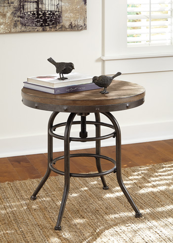 Vennilux Grayish Brown Round End Table main image