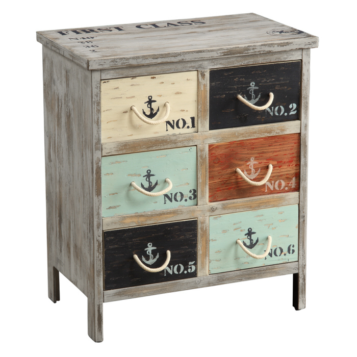 Storage Cabinet Coastal Colored Drawer