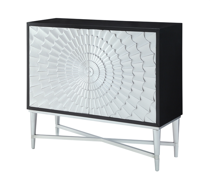"44"" Two Door Cabinet in Black/Silver main image"