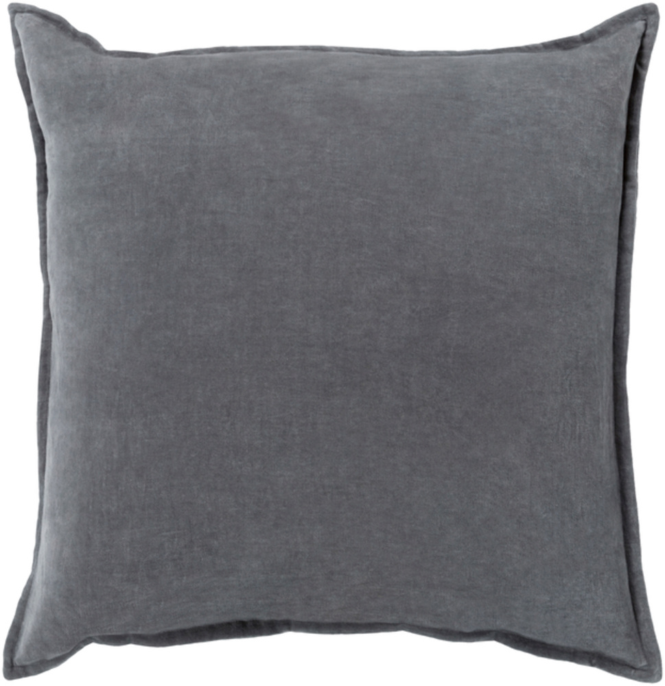 Gray Cotton Velvet Throw Pillow 22 x 22 main image