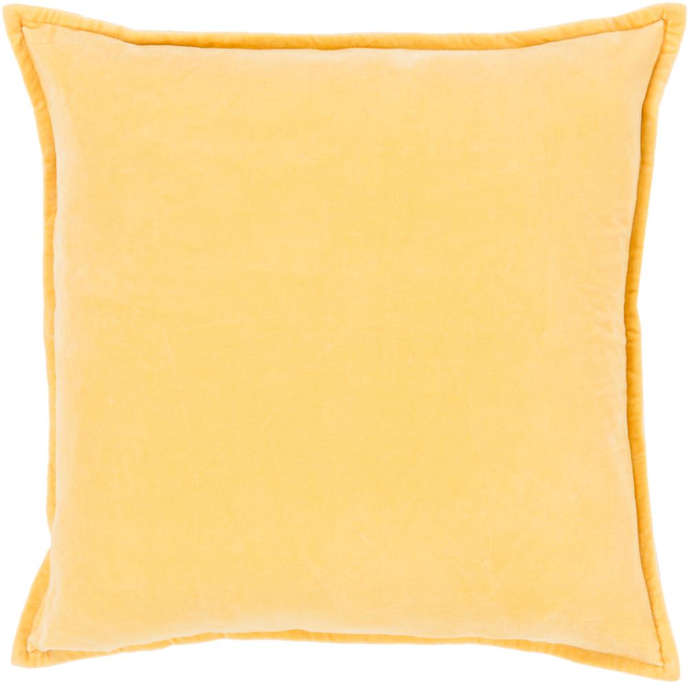 Bright Yellow Cotton Velvet Pillow 22 x 22 main image
