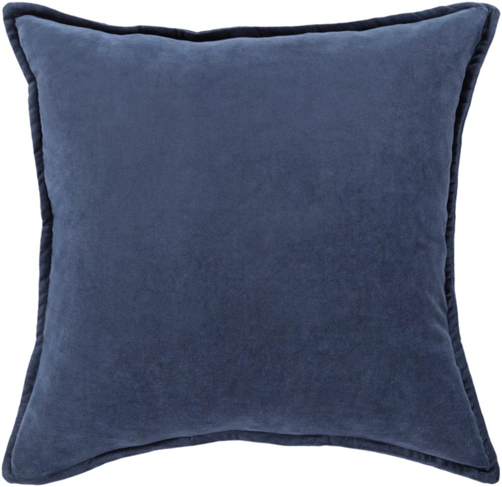 Navy Blue Cotton Velvet Throw Pillow 22 x 22 main image