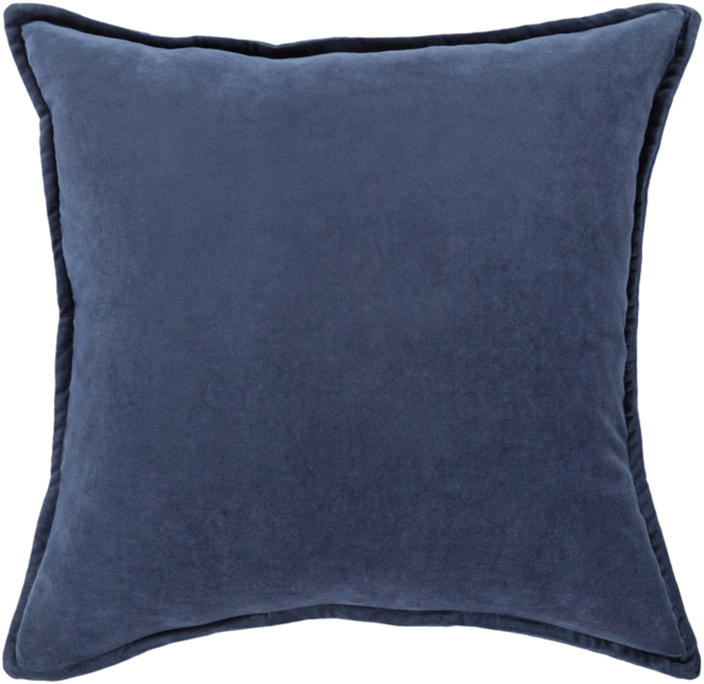 Navy Blue Cotton Velvet Throw Pillow 22 x 22 main image