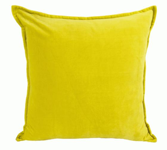 Mustard Cotton Velvet Throw Pillow 22 x 22 main image
