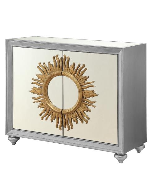 Silver Mirrored Accent Cabinet with Sun Design main image