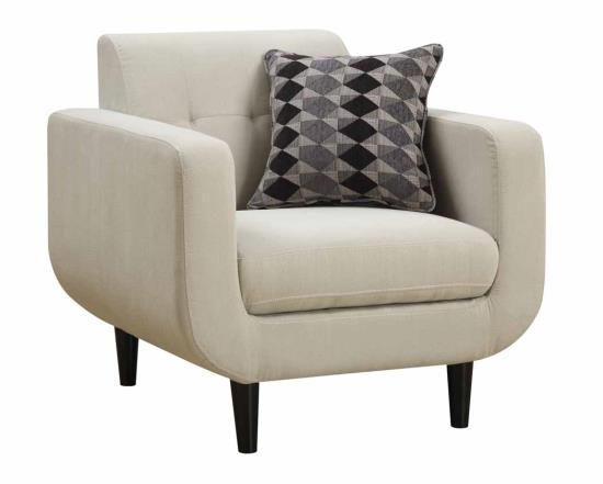 Tufted Back Chair With Ivory Fabric Upholstery main image