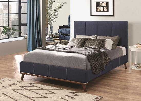 BLUE UPHOLSTERED TWIN BED main image