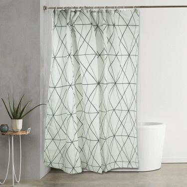 Line Pattern Shower curtain with Hooks  main image