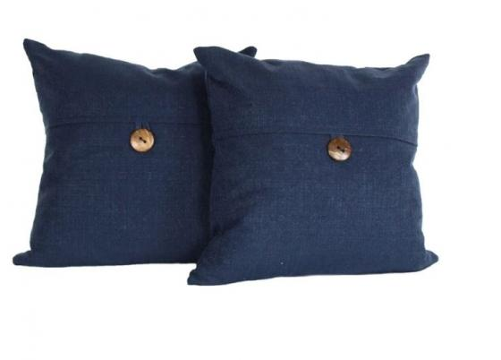 Dark Blue Pillows with Button main image