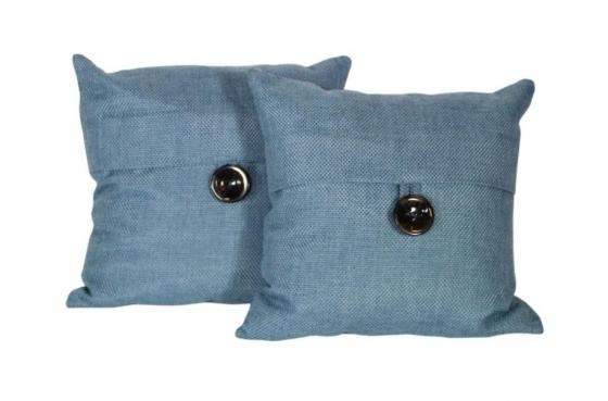 Set of Blue Pillows W/ Button main image
