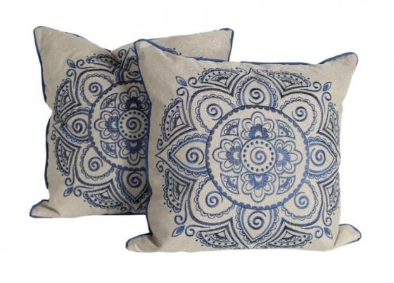 Blue and Tan Accent Pillows main image