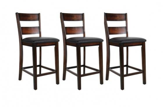 Wood and Black Leather Counter Stools Set of 3 main image