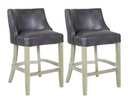 Gray Leather Barstools main image