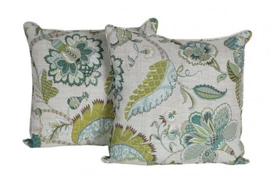 Blue/Green Outdoor Paisley Pillows main image