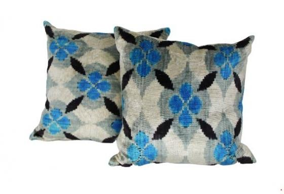 Ikat Blue Pillows