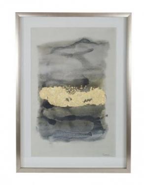 Green, Grey & Gold Framed Watercolor Art main image