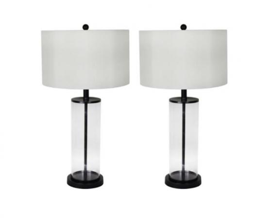 Black & Clear Cylinder Lamps main image