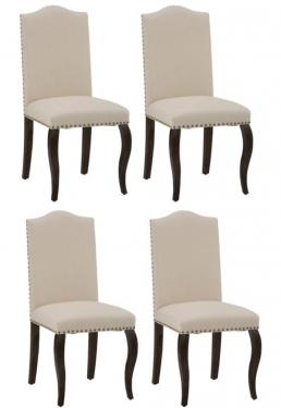 Set of 4 Camelback Upholstered Dining Chairs main image