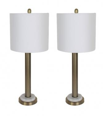 Gold & White Marble Base Lamps main image