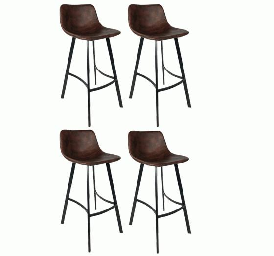 4 leather bar stools with metal legs. main image