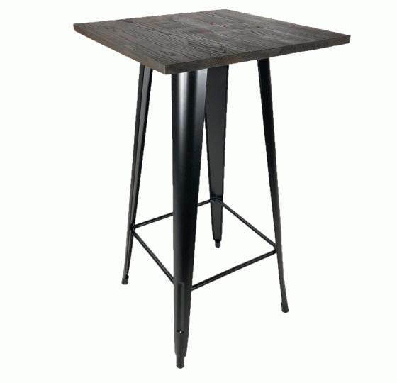 Dark Wood With Metal Legs Bar Table main image