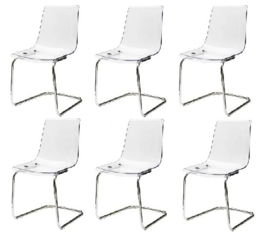 Set of 6 Clear Acrylic Dining Chairs main image