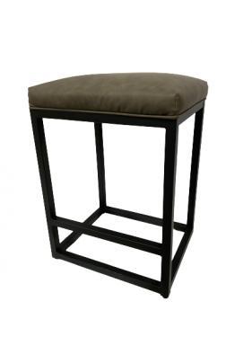 Grey leather stools w/ black iron legs main image