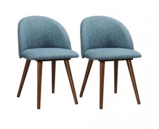 2 Aqua Dining Chairs - Walnut Legs main image